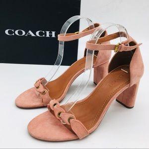 Coach Peony Pink Suede Women's Heels Sandals